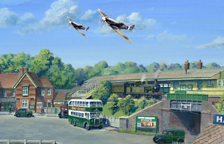 Matthew Cousins' painting showing a wartime scene at East Grinstead
