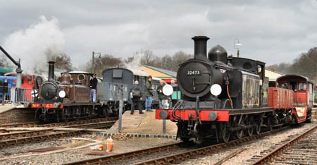 Fenchurch and 32473 with Goods trains at Horsted Keynes - 29 March 2008 - Jon Bowers