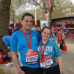 Lorna and Adam after completing the London Marathon