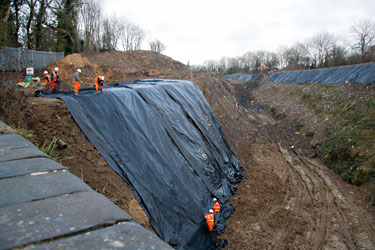 Geotextiles on the west side of the cutting - John Sandys - 8 January 2013