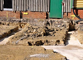 Work on services and foundations in carriage yard - Derek Hayward - 5 October 2014
