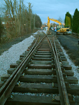 Track laid at East Grinstead, looking north from the viaduct - 15 January 2009 - David Chappell