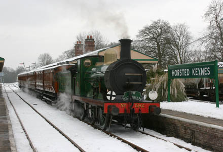 C-class No.592 ready to leave Horsted Keynes with the first Victorian Christmas train - Tony Sullivan - 23 December 2010