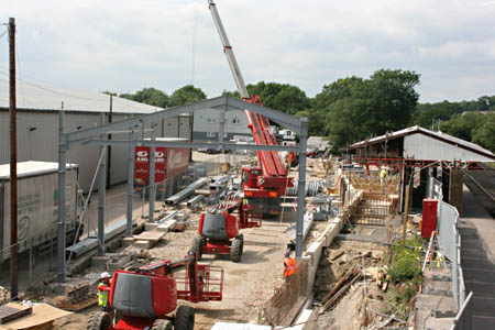 First steelwork erected at Sheffield Park - Tony Sullivan - 24 June 2010