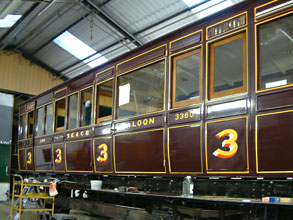 SECR carriage 3360 in paint shop - David Chappell - 17 April 2011