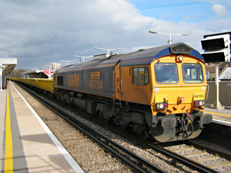 66704 with our 'Waste by Rail' train at Norwood Junction - Ian Maggs - 9 March 2011