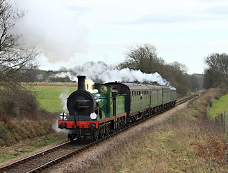 C-class heads train up Freshfield Bank, with Fenchurch trailing - Michael Hopps - 16 January 2011