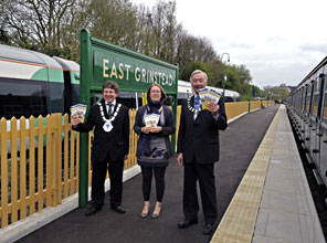 Mayors of East Grinstead and Uckfield launch the Line Guide at East Grinstead - Derek Hayward - 14 April 2011