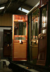 The evening sun catches a door on the Birdcage coach - Dave Clarke - 4 Sept 2011