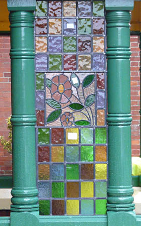Trial fitting of new stained glass in porch at Horsted Keynes - Ray Wills - 8 Dec 2011