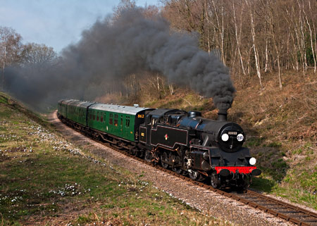 80151 as 80032 in Lindfield Wood with Bulleid coaches on photo-charter - David Haggar - 30 March 2012