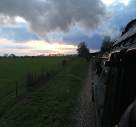 Sunset glints off the engine - Mike Lee - 14 April 2012