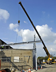 Steelwork being erected at Sheffield Park - Derek Hayward - 3 April 2012