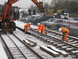 Assembling track panels at East Grinstead - Mike Hopps - 5 December 2012