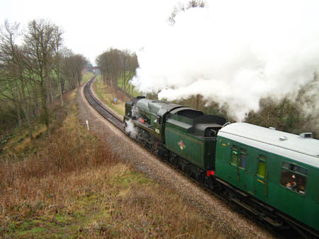 34028 'Eddystone' passes Caseford Bridge with a Santa Special - 24 Dec 2007 - Ashely Smith