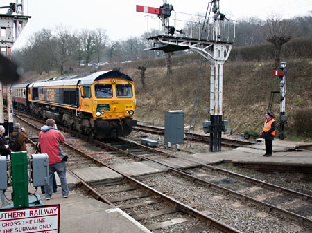 The incoming railtour arrives at Horsted Keynes - John Sandys - 28 March 2013