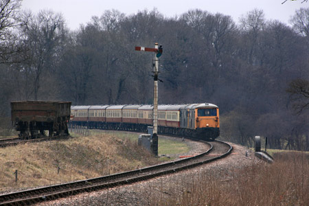 The railtour 73s arrive at Horsted Keynes - Tony Sullivan - 28 March 2013