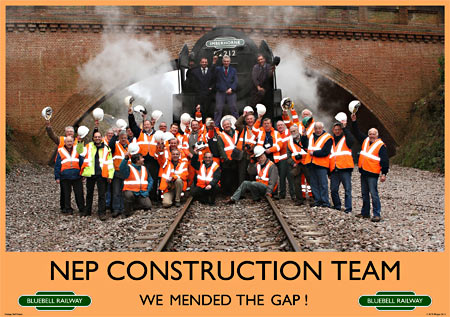 NEP Workers celebrate the first steam engine into the cutting since the 1960s - Mike Hopps - 16 March 2013