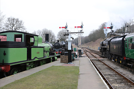 9F and 488 at Horsted Keynes - Alan Jenkins - 3 April 2013