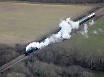 Aerial photo of 9F with 5.30pm from Sheffield Park - Chris Berryman - 29 March 2013