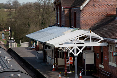 Zinc sheeting on the canopy at Sheffield Park - John Sandys - 30 April 2013