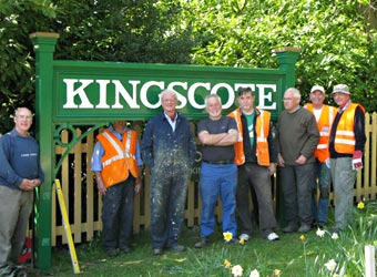 FoK team with new forecourt sign at Kingscote - Richard Hill - 7 May 2013