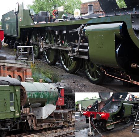 S15 frames and boiler shunted out of the works - John Sandys - 28 June 2013