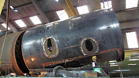 Lifting 34059's smokebox - John Fry - 17 Sept 2013