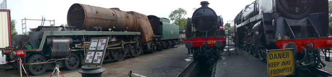 Panorama of the Loco Yard including 34059, 1638 and 9F - Brian Lacey - 27 Sept 2013