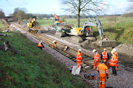 Tracklaying on Freshfield Bank - Pat Plane - 22 January 2014