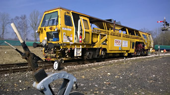Ballast tamper at Horsted Keynes - Paul Fuller, RSS - 12 March 2014
