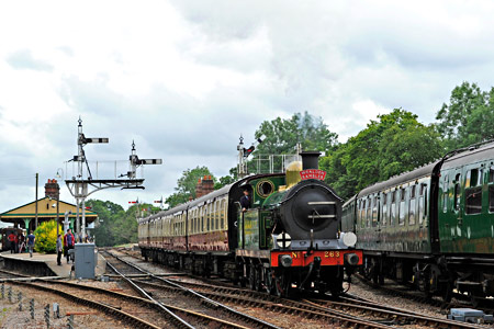 H-class with Wealden Rambler at Horsted Keynes - Derek Hayward - 5 July 2014