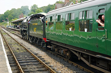 S15 with Bulleid coach in tow enters Platform 3 at Horsted Keynes - Brian Lacey - 27 August 2014