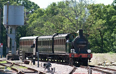 H-class with coaches for filming, approaching Horsted Keynes - John Sandys - 14 July 2014