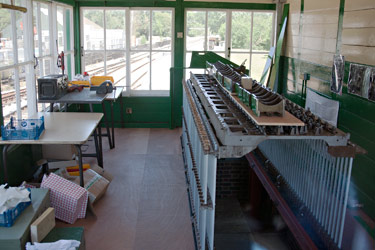 L-frame being installed in Kingscote signalbox - John Sandys - 3 July 2014