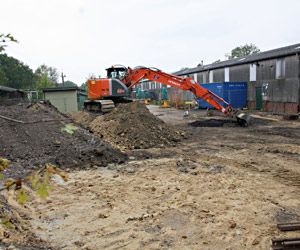 Preparations for foundation work on new carriage shed - John Sandys - 11 Sept 2014