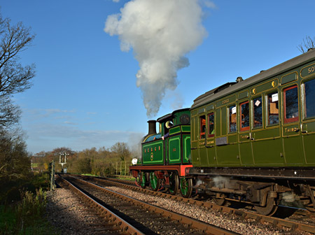 H-class and Birdcage Brake departing from Sheffield Park - Brian Lacey - 29 November 2014