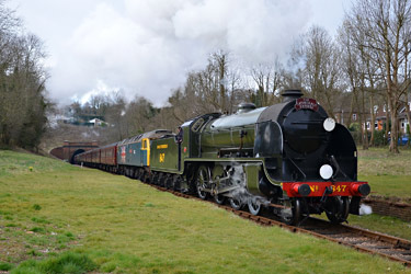 S15 heads the special through West Hoathly station site - Andrew Crampton - 21 March 2015