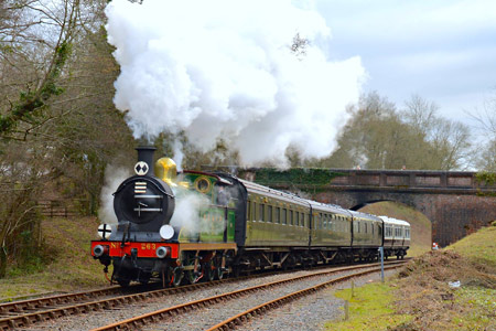 H-class with pre-war carriages at Leamland Bridge - Steve Lee - 1 February 2015