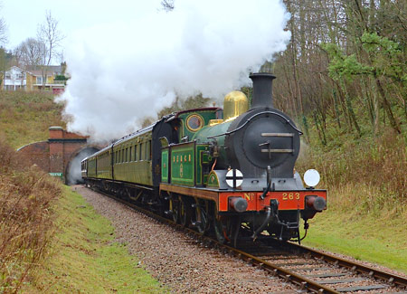 H-class with train at West Hoathly - Steve Lee - 3 January 2015