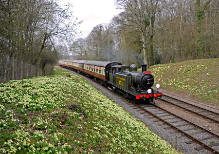 E4 No.B473 amidst the primroses at Leamland Bridge - Derek Hayward - 10 April 2015