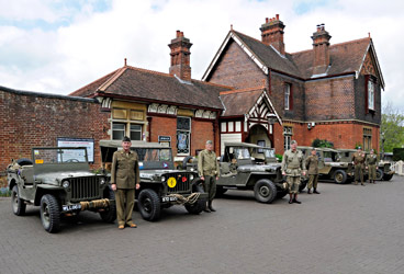 Military vehicles outside Sheffield Park station - Derek Hayward - 10 May 2015