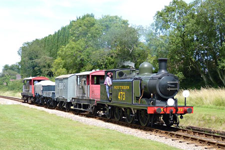 E4 with goods train - David Long - 1 August 2015