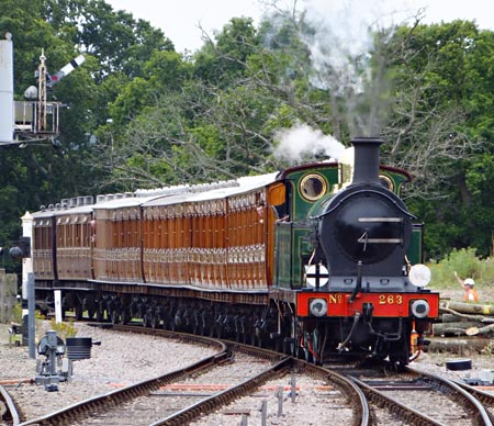 H-class approaching Horsted Keynes with Met coaches - John Sandys - 18 August 2015