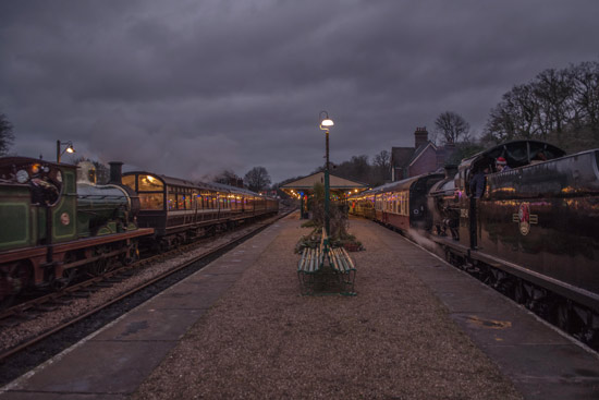C-class and Q-class together at Horsted Keynes at dusk - Nick Burgess - 12 December 2015
