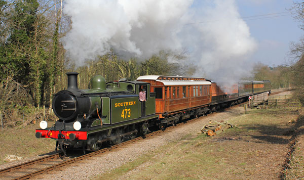 E4 at New Coombe Bridge with GN saloon and edwardian train - Peter Edwards - 13 March 2016