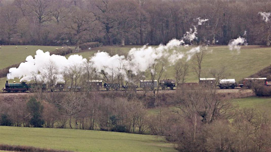 C-class with Goods Train north of Horsted Keynes - John Ede - 27 February 2016