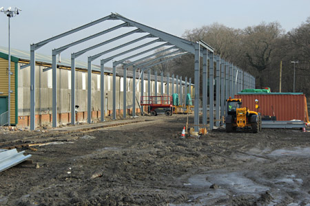 Steelwork erected for shed extension at Horsted Keynes - Dave Clarke - 5 March 2016