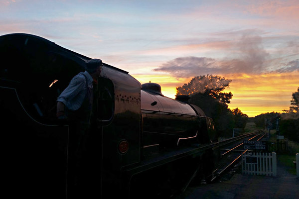 S15 ready to leave Sheffield Park at sunset - Martin Lawrence - 9 July 2016