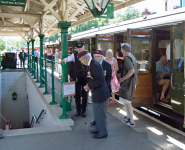 Veterans disembarking from their train at Kingscote - John Sandys - 19 July 2016